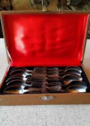 Набор винтажных кофейных ложек 12 шт. из нержавеющей стали
