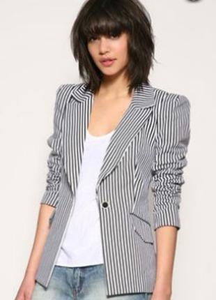Брендовый пиджак жакет блейзер в полоску с карманами wallis вьетнам коттон
