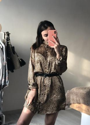 Платье рубашка сатин