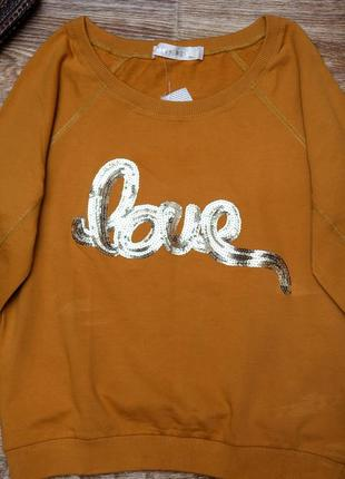 Bombes горчичный крутой свитер с надписью2 фото
