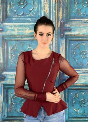 Комбинированная стильная блуза в цвете бордо