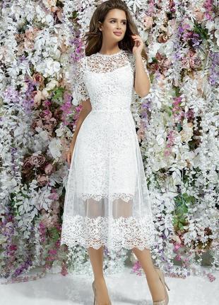 Шикарное кружевное платье с фитином р46