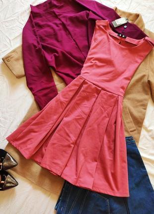 Розовое платье новое с биркой bik bok с открытой спиной трикотажное коралловое