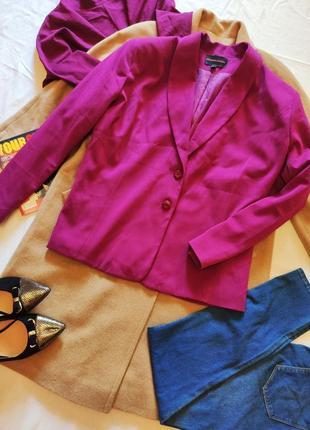 Пиджак жакет большого размера фуксия ярко розовый на подкладке