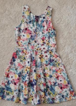 Летнее натуральное платье с цветочным принтом h&m