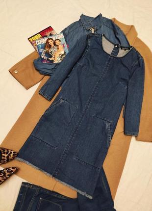 Ware denim джинсовое платье прямое трапеция с большими карманами синее голубое