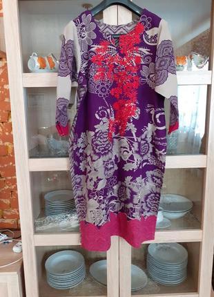 Натуральное с вышивкой платье туника большого размера