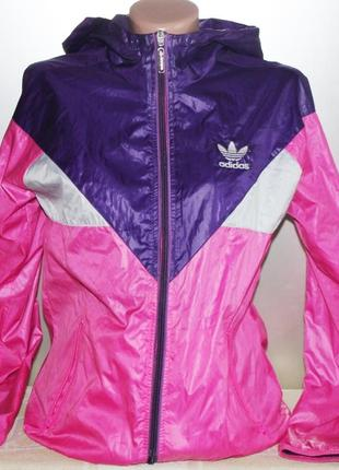 Бомбезная яркая куртка ветровка пыльник adidas, оригинал 38р