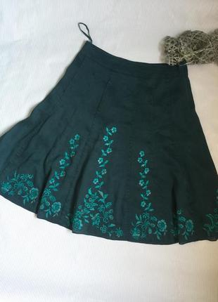 Шикарная юбка с вышивкой лен 80%, шёлк 20%