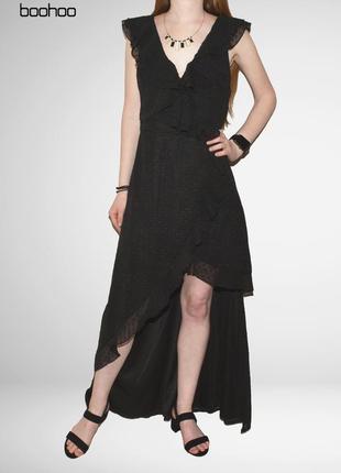 Шикарное длинное платье с подолом и открытой ногой boohoo