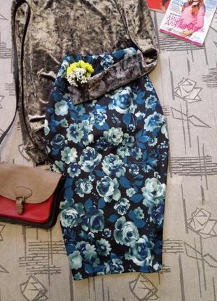 Красивая цветочная юбка карандаш, george, размер s-m