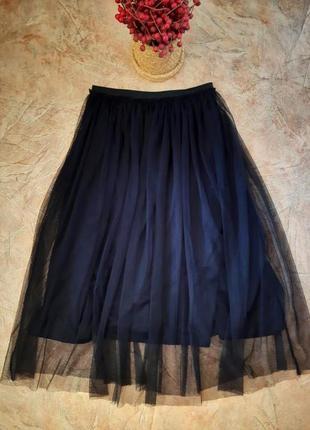 Красивая  чёрная фатиновая юбка