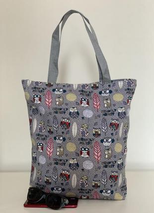 Текстильная (хлопковая) эко сумка шоппер пляжная молодежная с совами