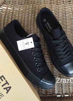 Черные кроссовки кеды конверсы мокасины слипоны с резиновым носком
