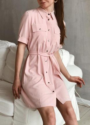 Льняное платье рубашка розового пудрового цвета