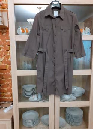 Очень крутое и стильное котоновое с карманами платье рубашка большого размера