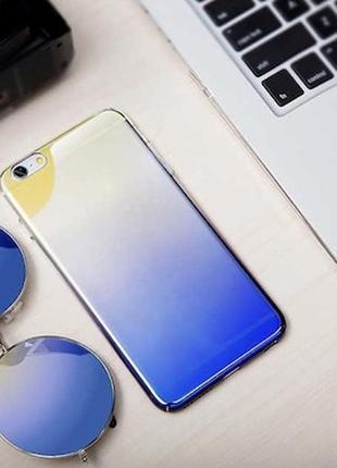 💜новый чехол на apple iphone 8/прозрачный чехол желто-фиолетовое омбре/разноцветный чехол💛