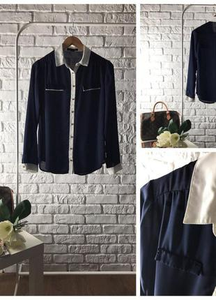 Изысканная темно-синяя блуза из креп-шифона с контрастной отделкой     bl41007    atmosphere