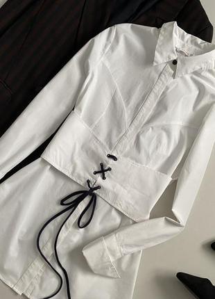 Красивейшая хлопковая удлиненная рубашка со шнуровкой finery5 фото