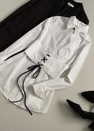 Красивейшая хлопковая удлиненная рубашка со шнуровкой finery3 фото