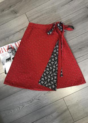 Двухсторонняя хлопковая юбка на запах