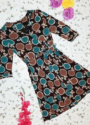 🌿1+1=3 фирменное приталенное трикотажное платье миди в принт next, размер 48 - 50