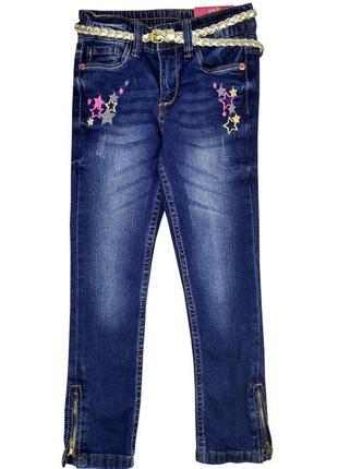 Стильные джинсы slim fit  с поясом на девочку р. 98, р.110, kiki&koko / kik