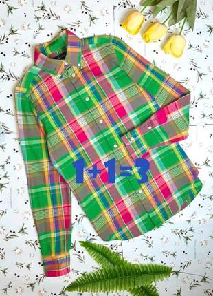 🌿1+1=3 фирменная яркая рубашка блуза в клетку ralph lauren оригинал, размер 44 - 46