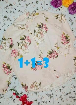 🌿1+1=3 неверояно красивая нарядная блуза в цветах с длинным рукавом george, размер 56 - 58