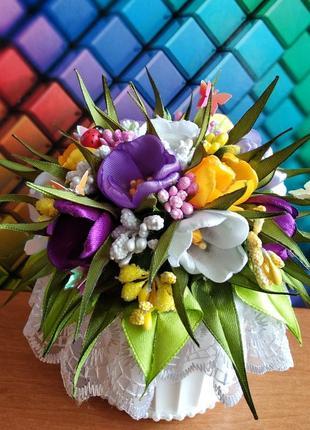 Весенний букет цветов из лент / канзаши / в горшке / топиарий/  1+1=3 подарок