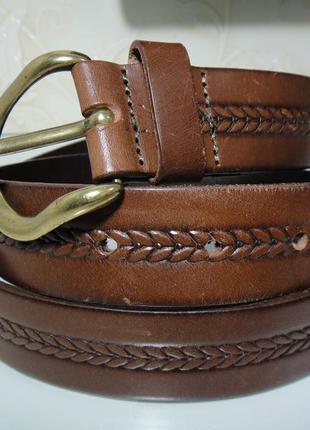 Итальянский кожаный мужской брючный ремень, пояс (3,4 см)
