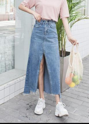 Стильная джинсовая юбка в винтажном стиле 27р