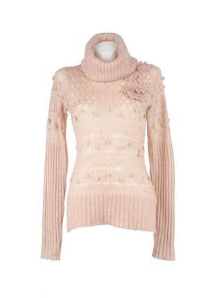 Вязаный ажурный свитер цвета мокко