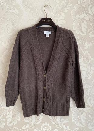 Ann taylor теплый шерстяной коричневый кардиган альпака