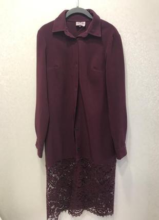 Платье туника с гипюром