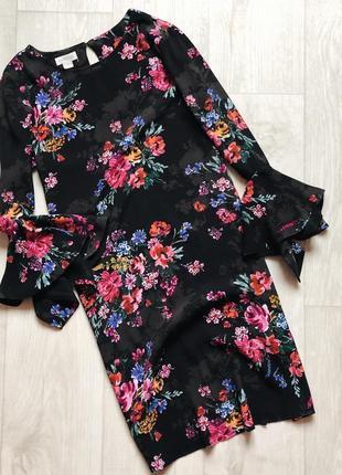 Платье в цветы с расклешенными рукавами monsoon