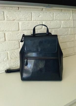 Удобный кожаный сумка-рюкак темно-синий