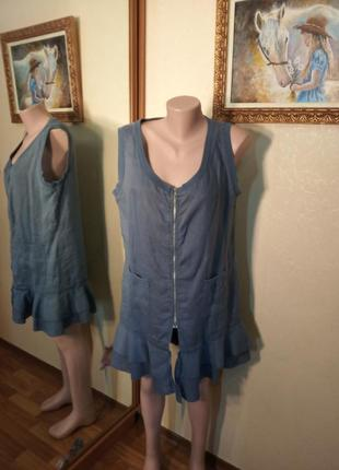 👗 платье лен синее