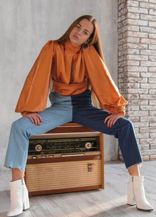Шелковая блуза с открытой спинкой / блуза с интересными рукавами / шовкова рубашка /
