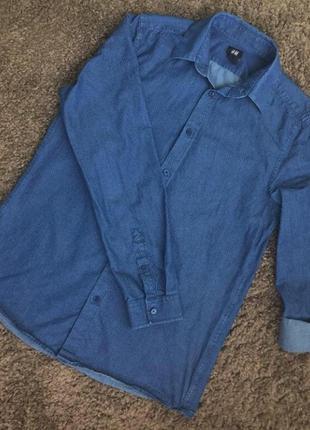 Джинсовая рубашка в горошек (точечки) р.36/38 h&m