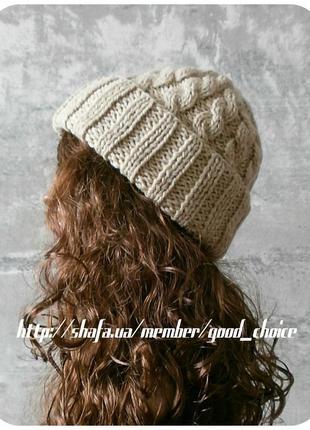 Хлопковая шапка с отворотом/с косами сливочного цвета