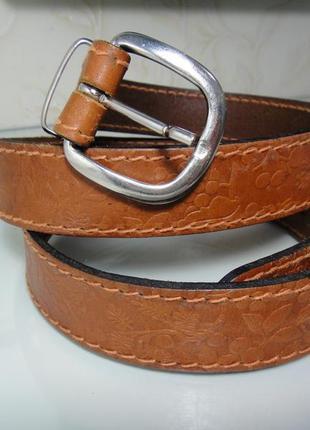 Кожаный итальянский ремень, пояс коричневый. шир. 2,8 см