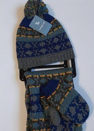 Комплект шапка, шарф, варешки tu
