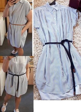Стильное полосатые платье рубашка с карманами, zebra, p. m-l