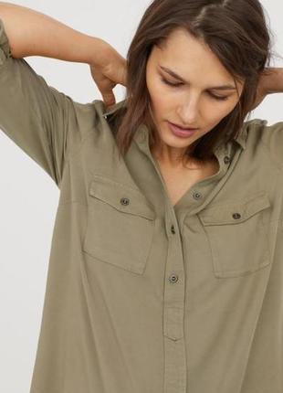 Платье-рубашка длинная блуза для беременной беременяшки стиль сафари хаки хл 48-50