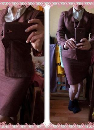 Классический женский костюм классика юбка пиджак жакет