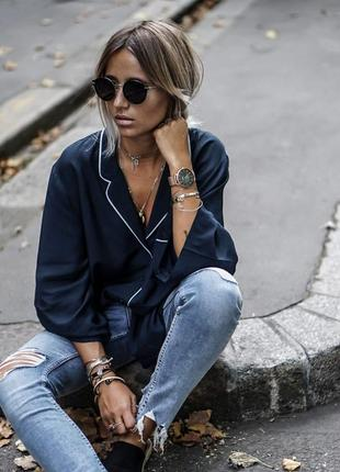 Темно-синяя блузка в пижамном стиле, шелковая рубашка с-м