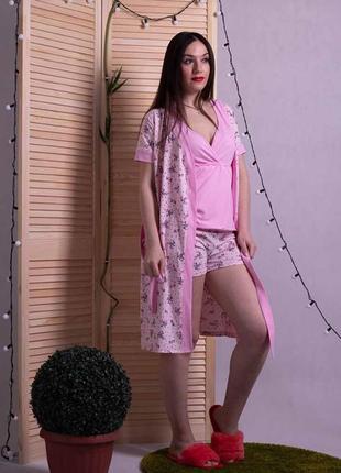 Пижама женская, комплект домашний летний, тройка 1592