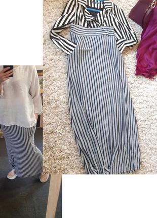 Стильная длинная юбка в полоску, с карманами, италия,  р. 6-8