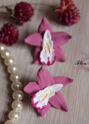 """Серьги ручной работы """"розовые орхидеи"""""""